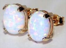 BEAUTIFUL 9 CT YELLOW GOLD 1.50ct OPAL CABOCHON LADIES STUD EARRINGS -