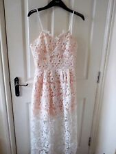 BNWOT SELF PORTRAIT style azaelea dress white and nude lace embroidered UK 10