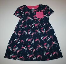 New Gymboree Navy Pink Flamingo Print Bow Back Dress Size 5T NWT Mix N Match