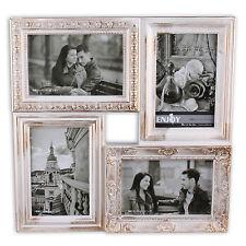 Bilderrahmen aus Kunststoff für 4 Fotos 10 x 15 cm BAROCK CITY #4 in weiss gold