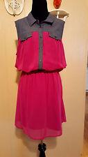 ALLEN B. Allen Schwartz Dress Purple & Blue Lined Shirt Dress Size 16
