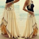 Boho Hippie Ladies Chiffon Irregular Long Maxi Skirt Summer Beach Casual Dress