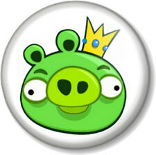 "Angry birds green pig 25mm 1"" Pin Button Badge iPhone iPad App Computer Game Fun"
