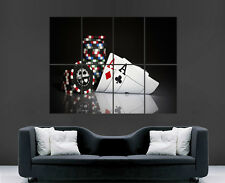 POKER POSTER GAMBLING CARDS ACES CHIPS CASINO WALL ART IMAGE LARGE WALL POSTER