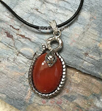 Carnelian Agate Antique Silver Plt Snake Leather Necklace Pendant Reiki Healing
