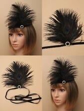 1920,s BLACK CHARLESTON HEADBAND : BLACK RIBBON TIE, PEACOCK FEATHER, BEAD: 0058