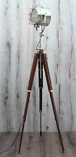 Vintage Nautical Grill Studio Spotlight Industrial Tripod Floor Lamp Wooden Look