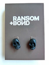 RANSOM + BOND Black Metal Skull Stud Post Earrings by - BRAND NEW & UBER RARE!