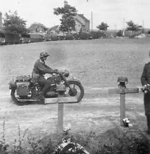 WW2 Photo WWII German Soldier on Motorcycle Passes German Graves   / 2277