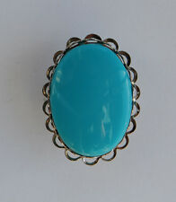 VINTAGE TURQUOISE BLUE GLASS OVAL BOLO TIE 18 x 25mm MENS COSTUME JEWELRY