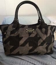Auth. Kate Spade Hearthstone Houndstooth Black & Gray Purse/Handbag $398! EUC