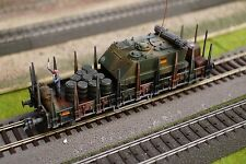 FLEISCHMANN, MILITARY WAGON WITH ONE ROCO MINITANK AS LOAD, SCALE HO