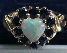 10KT Yellow Gold Ring with Heart Shaped Opal surrounded by deep blue sapphires