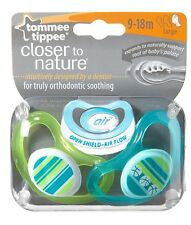 Tommee Tippee 2-Pack CTN C-Air 9-18m Soothers -Turquoise/Green Design for Boys