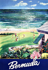 Art ad Bermudas Beach Golf Travel Poster Print
