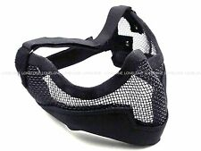 China Made Airsoft Paintball Wire Mesh Half Mask with Ear Protector Black #MK07