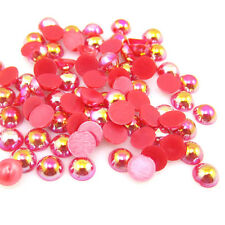 100pcs Half Pearl Round Bead Flat Back 6mm Scrapbook for Craft Red AB BAE38