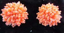 1 Pair Pink Coral Clip-On( Screw Back ) Earrings