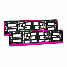 2 x Universal Number Plate Holders Surrounds Frames Any Car - Pink Effect