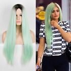Kylie Jenner Styling Long Straight Wig Central Parting Light Blue Drag Queen Wig
