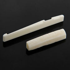 Beige Buffalo Bone Bridge Saddle And Slotted Nut For 6 String Acoustic Guitar TB