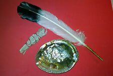 Sage Smudge Kit Abalone Shell California White Sage Sinew Wrapped Feather