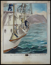 "Dessin original de Gaston SMIT illustration livre ""A travers le pacifique"" 1931"