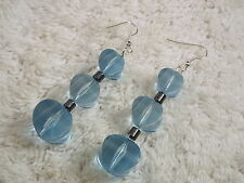 Long Blue Acrylic Bead Pierced Earrings (C55)