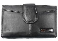 LADIES LUXURY SOFT BLACK REAL LEATHER PURSE CREDIT CARD HOLDER COIN POUCH WALLET