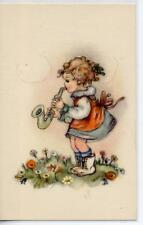 Bambina con Sassofono Musica Childrens Girl w Sax PC circa 1940 Italy Bambini