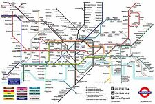 LONDON UNDERGROUND TUBE MAP  - GREAT TALKING POINT - WOW! FACTOR WHEN FRAMED