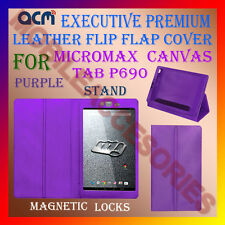 ACM-EXECUTIVE LEATHER FLIP CASE for MICROMAX CANVAS TAB P690 COVER STAND-PURPLE