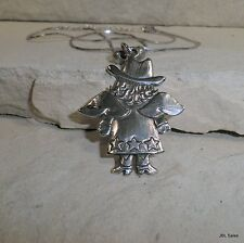 RETIRED JEEP COLLINS STERLING SILVER LARGE COWGIRL ANGEL PENDANT & NECKLACE