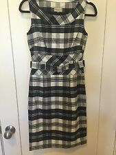 NWT KAREN MILLEN England Black & White Houndstooth Pencil Dress SZ8 $278