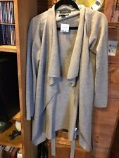 Tahari Cashmere size large wrap robe cardigan sweater beautiful gray NEW