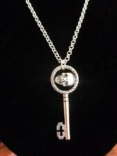 ONCE UPON A TIME..REGINA SKULL KEY PENDANT NECKLACE... SILVER PLATED CHAIN