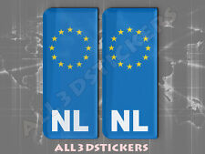 2x3D Sticker Resin Domed Euro NETHERLANDS Number Plate Car Badge Adhesive