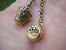 ANTIQUE VICTORIAN GOLD FILLED POCKET WATCH CHAIN WITH 2 GREAT PUFFY CHARM FOBS