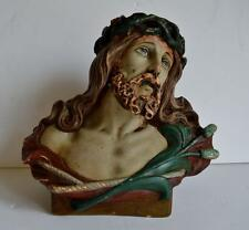 FINE ANTIQUE 19thC FRENCH CATHOLIC CHURCH RELIGIOUS PLASTER BUST OF CHRIST