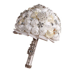 Romantic Rose Flower Silk Crystal Pearl Brooch Posy Wedding Bridal Bouquet Hot