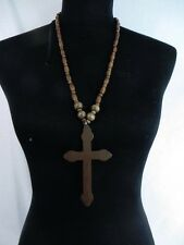 US SELLER-men women jewelry cross wood pendant rosary necklace