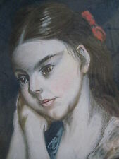 19th Century American Portrait Of A Girl With Red Bow Dated 1872