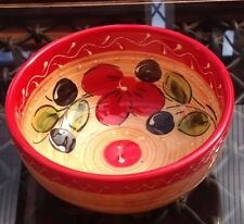 Spanish Ceramic Small Bowl. Red & Olive Design. Hand Painted