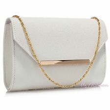 WHITE FLAP LADIES PARTY EVENING CLUTCH HAND BAG HANDBAG PURSE