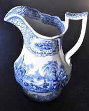 Glasgow Blue & white transferware jug  'Triumphal Car' pattern c.1830 (A880)