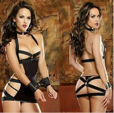 Womens Lingerie Sexy Strappy Role Play-Pole Dance Dominatrix Black  New +