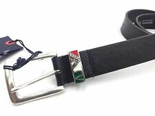 $360 GIORGIO ARMANI Mens BLACK LOGO EAGLE ITALY LEATHER BUCKLE JET SET BELT 32