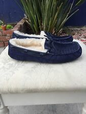 UGG 1012357 DAKOTA CROCO MOCCASINS SLIPPERS LOAFERS NAVY BLUE SUEDE -US 9- NEW!