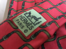 Men's RARE Authentic Hermes Paris 7009 TA Red with Belts Neck Tie Made in France