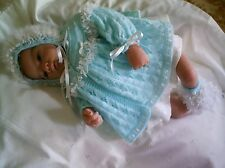 "KNITTING PATTERN JACKET BONNET BOOTEES BABY 0-3 MTHS REBORN DOLL 19-21"" No 13"